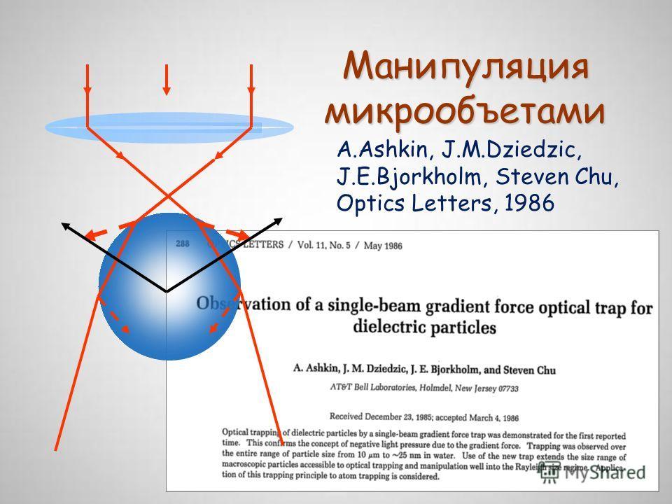 Манипуляция микрообъетами A.Ashkin, J.M.Dziedzic, J.E.Bjorkholm, Steven Chu, Optics Letters, 1986