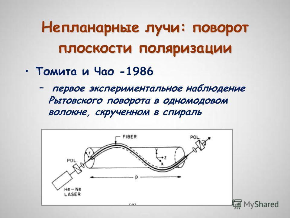 Непланарные лучи: поворот плоскости поляризации Томита и Чао -1986 – первое экспериментальное наблюдение Рытовского поворота в одномодовом волокне, скрученном в спираль