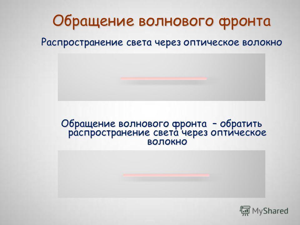 Обращение волнового фронта Обращение волнового фронта – обратить распространение света через оптическое волокно Распространение света через оптическое волокно