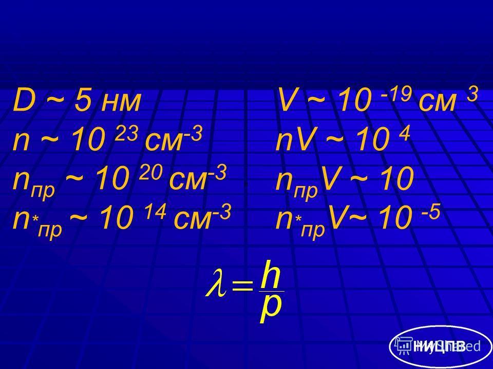 D ~ 5 нм n ~ 10 23 см -3 n пр ~ 10 20 см -3 n * пр ~ 10 14 см -3 V ~ 10 -19 см 3 nV ~ 10 4 n пр V ~ 10 n * пр V~ 10 -5