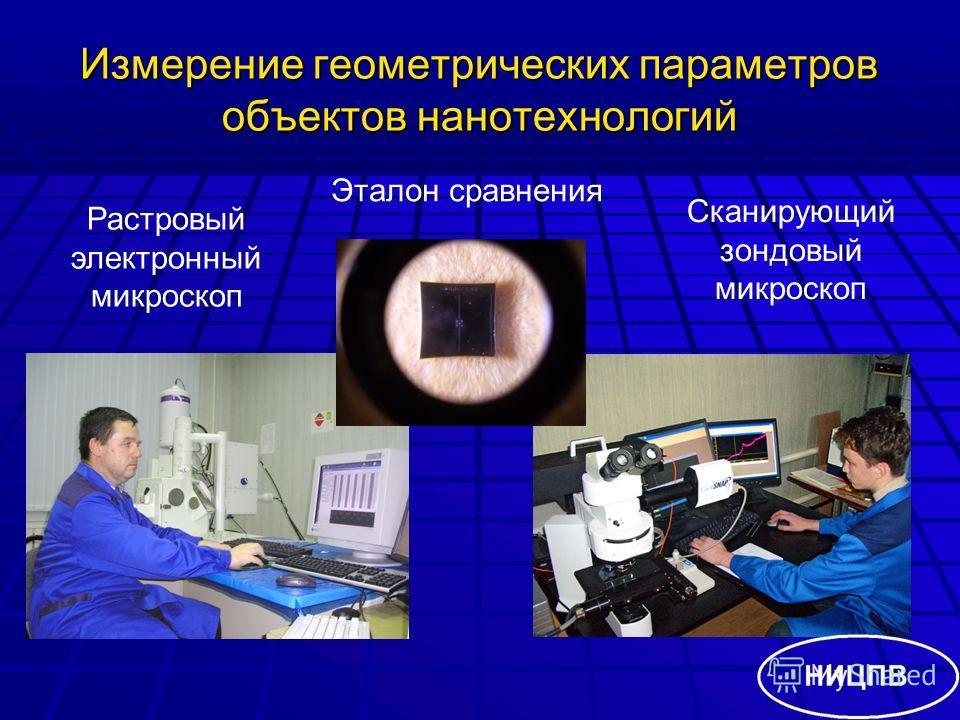 Измерение геометрических параметров объектов нанотехнологий Растровый электронный микроскоп Сканирующий зондовый микроскоп Эталон сравнения