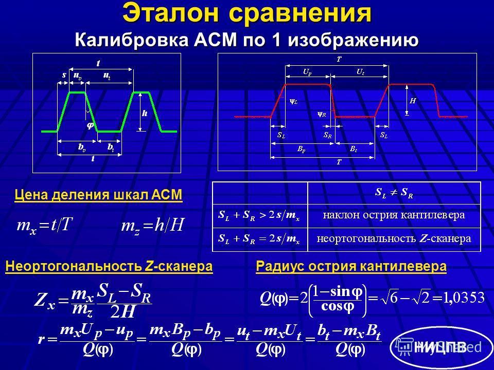 Эталон сравнения Калибровка АСМ по 1 изображению Цена деления шкал АСМ Неортогональность Z-сканераРадиус острия кантилевера