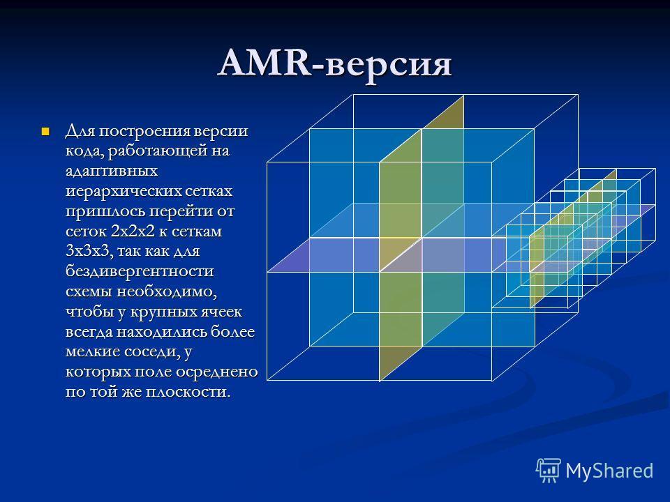 AMR-версия Для построения версии кода, работающей на адаптивных иерархических сетках пришлось перейти от сеток 2x2x2 к сеткам 3x3x3, так как для бездивергентности схемы необходимо, чтобы у крупных ячеек всегда находились более мелкие соседи, у которы