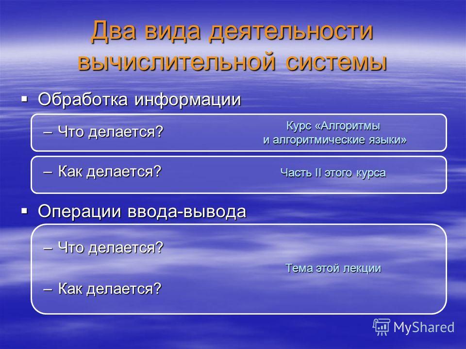 Два вида деятельности вычислительной системы Обработка информации Обработка информации –Что делается? –Как делается? Операции ввода-вывода Операции ввода-вывода –Что делается? –Как делается? Курс «Алгоритмы и алгоритмические языки» Часть II этого кур