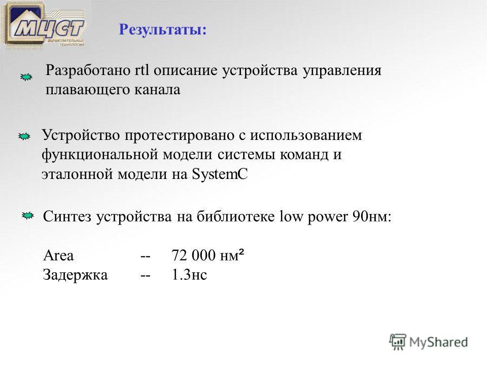 Результаты: Разработано rtl описание устройства управления плавающего канала Устройство протестировано с использованием функциональной модели системы команд и эталонной модели на SystemC Синтез устройства на библиотеке low power 90нм: Area-- 72 000 н