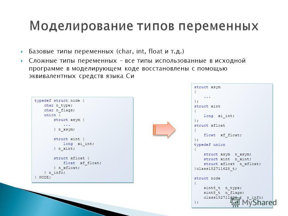 Базовые типы переменных (char, int, float и т.д.) Сложные типы переменных – все типы использованные в исходной программе в моделирующем коде восстановлены с помощью эквивалентных средств языка Си typedef struct node { char n_type; char n_flags; union