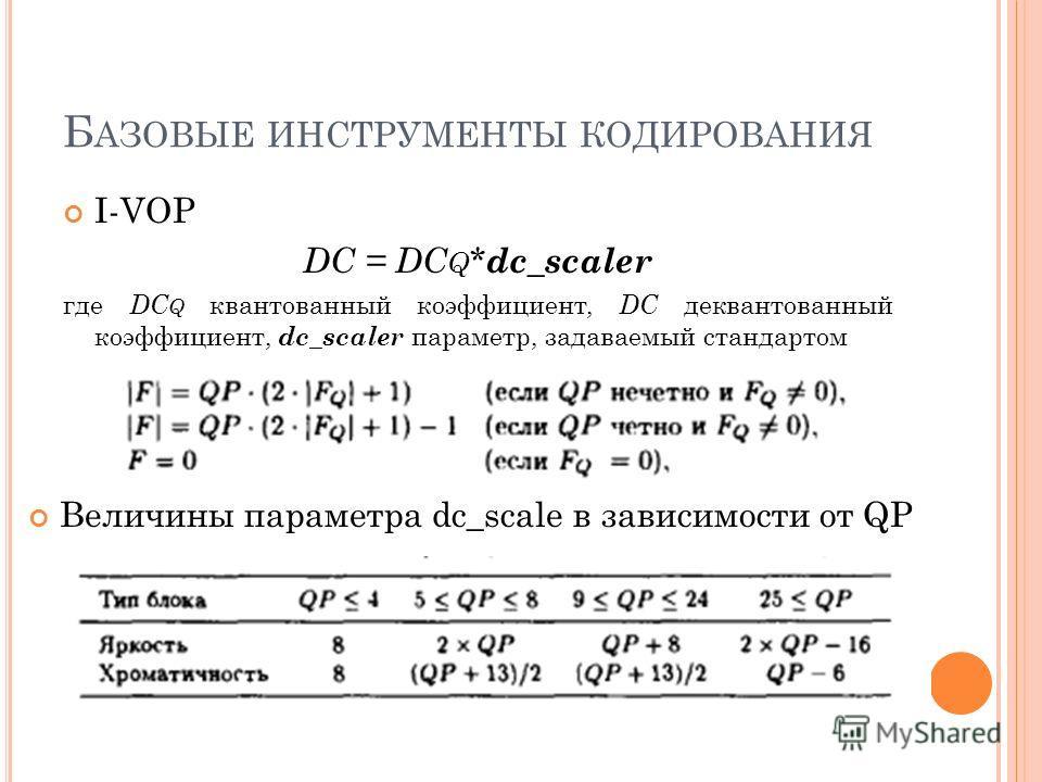 Б АЗОВЫЕ ИНСТРУМЕНТЫ КОДИРОВАНИЯ I-VOP DC = DC Q * dc_scaler где DC Q квантованный коэффициент, DC деквантованный коэффициент, dc_scaler параметр, задаваемый стандартом Величины параметра dc_scale в зависимости от QP
