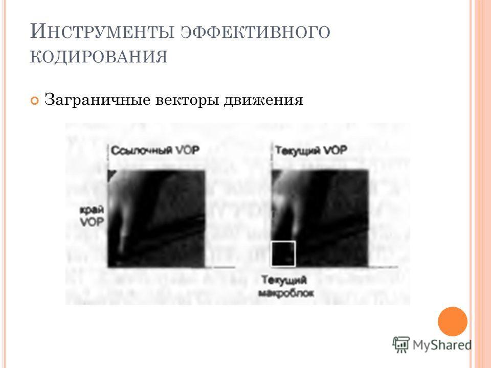 И НСТРУМЕНТЫ ЭФФЕКТИВНОГО КОДИРОВАНИЯ Заграничные векторы движения