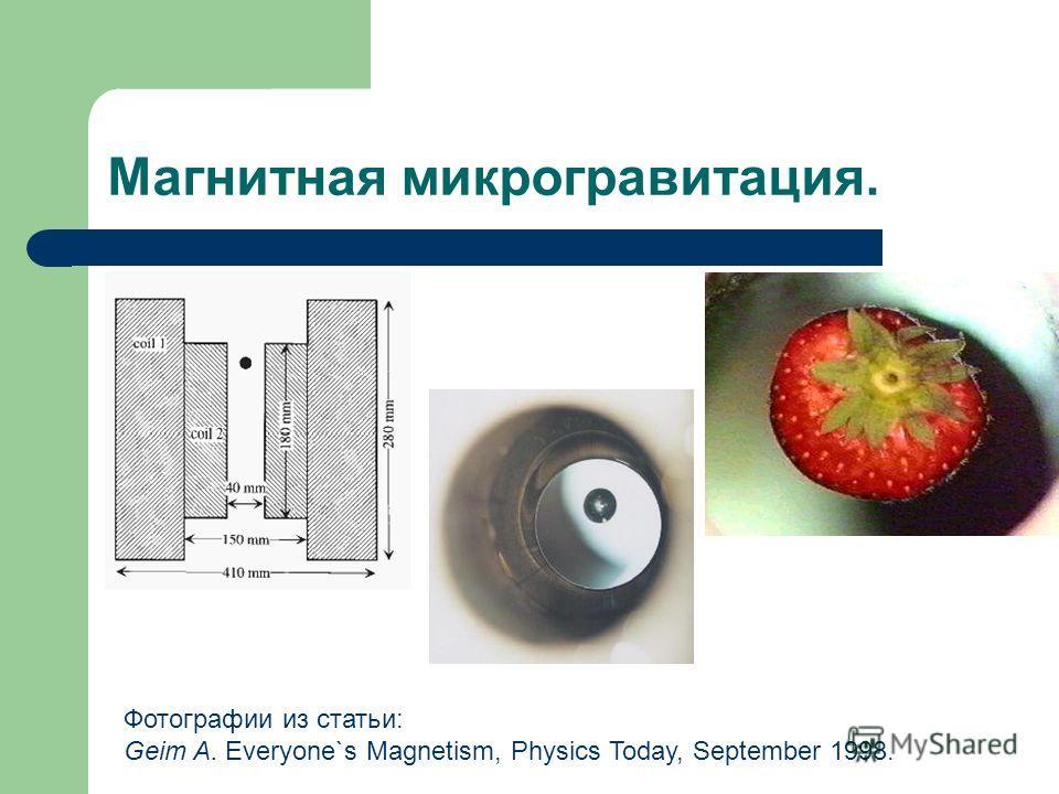 Магнитная микрогравитация. Фотографии из статьи: Geim A. Everyone`s Magnetism, Physics Today, September 1998.