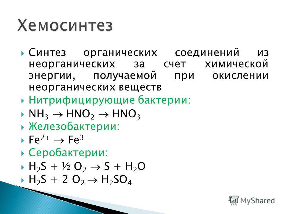 Синтез органических соединений из неорганических за счет химической энергии, получаемой при окислении неорганических веществ Нитрифицирующие бактерии: NH 3 HNO 2 HNO 3 Железобактерии: Fe 2+ Fe 3+ Серобактерии: H 2 S + ½ O 2 S + H 2 O H 2 S + 2 O 2 H
