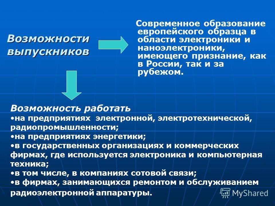 Возможности выпускников Современное образование европейского образца в области электроники и наноэлектроники, имеющего признание, как в России, так и за рубежом. Возможность работать на предприятиях электронной, электротехнической, радиопромышленност