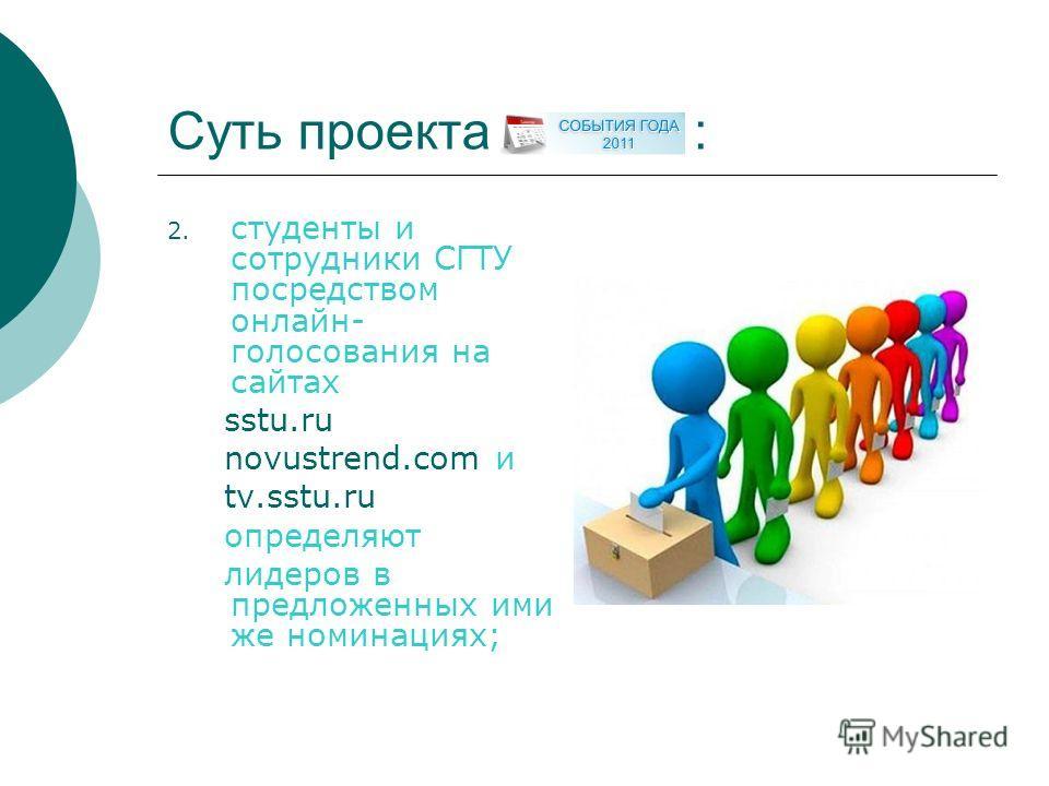 Суть проекта : 2. студенты и сотрудники СГТУ посредством онлайн- голосования на сайтах sstu.ru novustrend.com и tv.sstu.ru определяют лидеров в предложенных ими же номинациях;