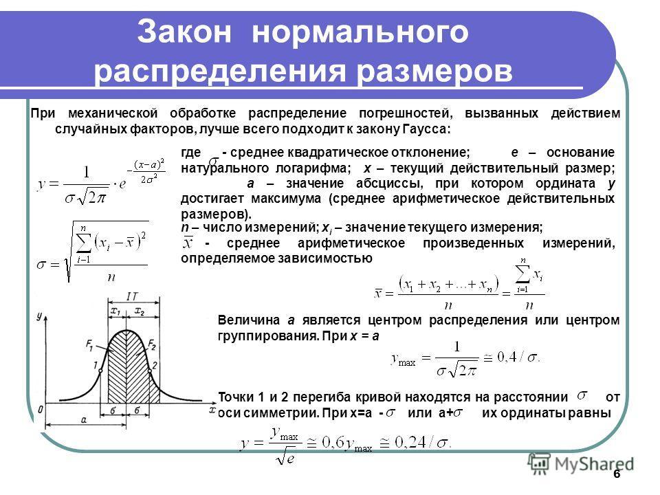 6 Закон нормального распределения размеров При механической обработке распределение погрешностей, вызванных действием случайных факторов, лучше всего подходит к закону Гаусса: где где - среднее квадратическое отклонение;е – основание натурального лог