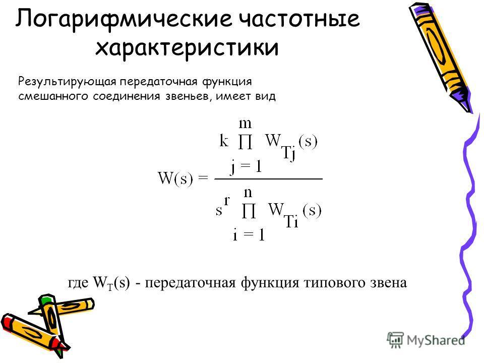Логарифмические частотные характеристики Результирующая передаточная функция смешанного соединения звеньев, имеет вид где W T (s) - передаточная функция типового звена