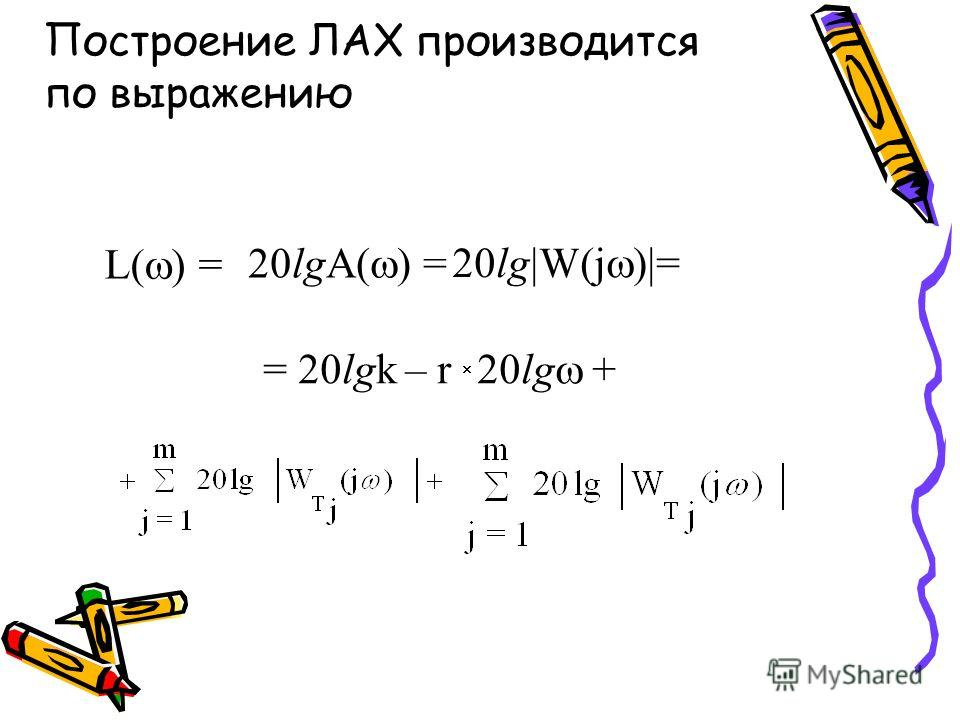 Построение ЛАХ производится по выражению L( ) = 20lgA( ) = 20lg W(j ) = = 20lgk – r 20lg +