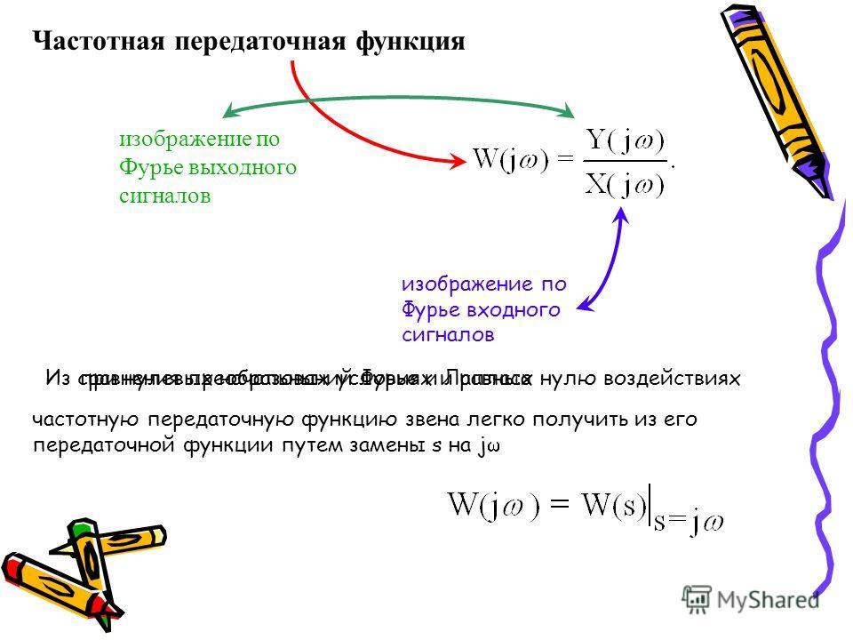 Частотная передаточная функция изображение по Фурье выходного сигналов изображение по Фурье входного сигналов при нулевых начальных условиях и равных нулю воздействиях Из сравнения преобразований Фурье и Лапласа частотную передаточную функцию звена л