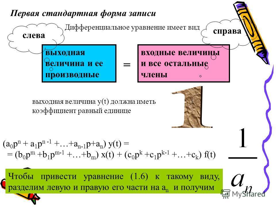 Первая стандартная форма записи Чтобы привести уравнение (1.6) к такому виду, разделим левую и правую его части на a n и получим выходная величина и ее производные Дифференциальное уравнение имеет вид входные величины и все остальные члены слева спра