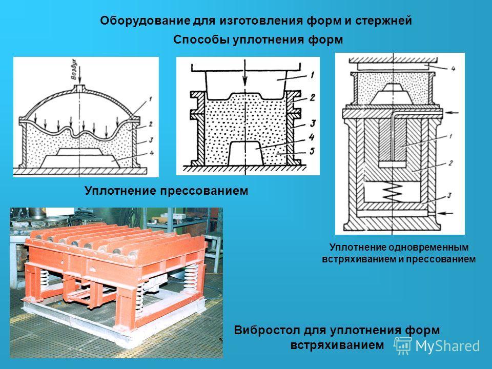 Оборудование для изготовления форм и стержней Способы уплотнения форм Вибростол для уплотнения форм встряхиванием Уплотнение прессованием Уплотнение одновременным встряхиванием и прессованием