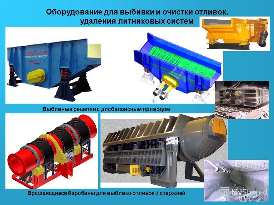 Оборудование для выбивки и очистки отливок, удаления литниковых систем Выбивные решетки с дисбалансным приводом Вращающиеся барабаны для выбивки отливок и стержней
