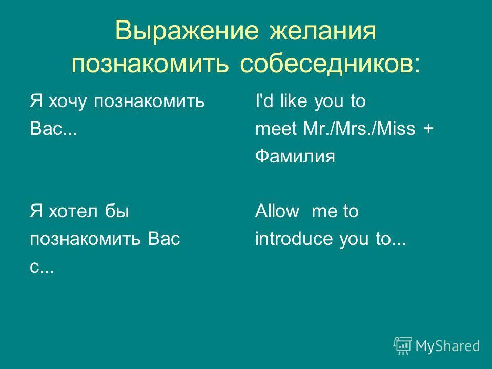 Выражение желания познакомить собеседников: Я хочу познакомить Вас... Я хотел бы познакомить Вас с... I'd like you to meet Mr./Mrs./Miss + Фамилия Allow me to introduce you to...