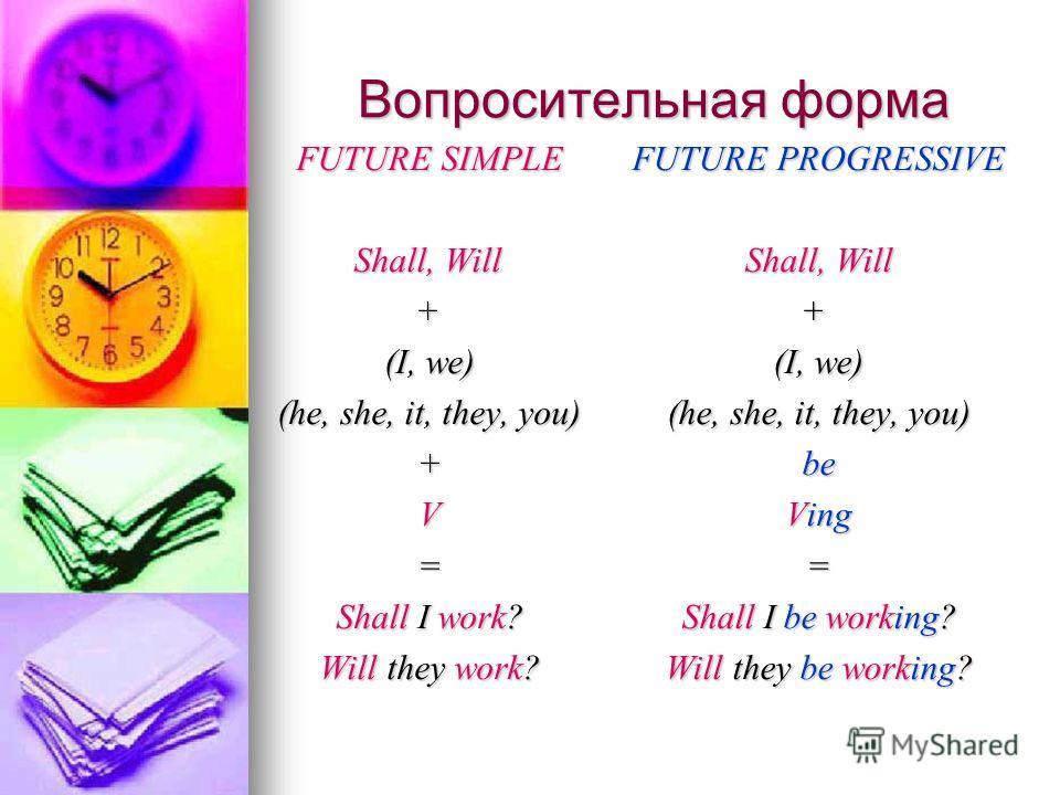 Вопросительная форма FUTURE SIMPLE Shall, Will Shall, Will + (I, we) (he, she, it, they, you) +V= Shall I work? Will they work? FUTURE PROGRESSIVE Shall, Will + (I, we) (he, she, it, they, you) be Ving = Shall I be working? Will they be working?