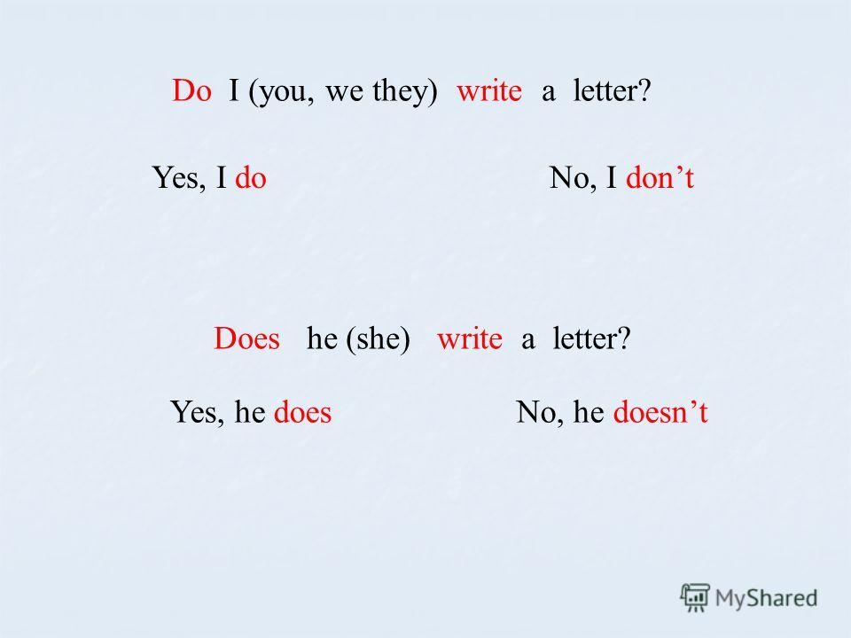 Do I (you, we they) write a letter? Yes, I do No, I dont Does he (she) write a letter? Yes, he does No, he doesnt