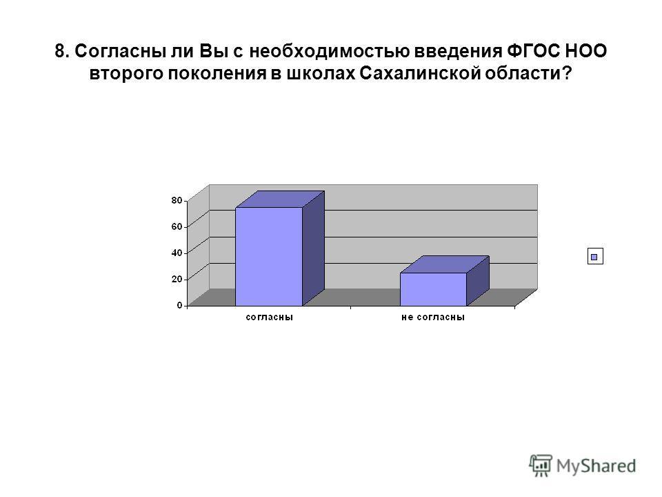 8. Согласны ли Вы с необходимостью введения ФГОС НОО второго поколения в школах Сахалинской области?