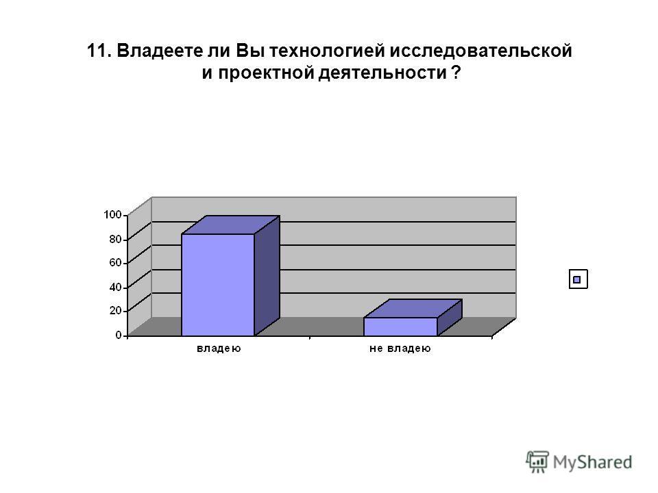 11. Владеете ли Вы технологией исследовательской и проектной деятельности ?