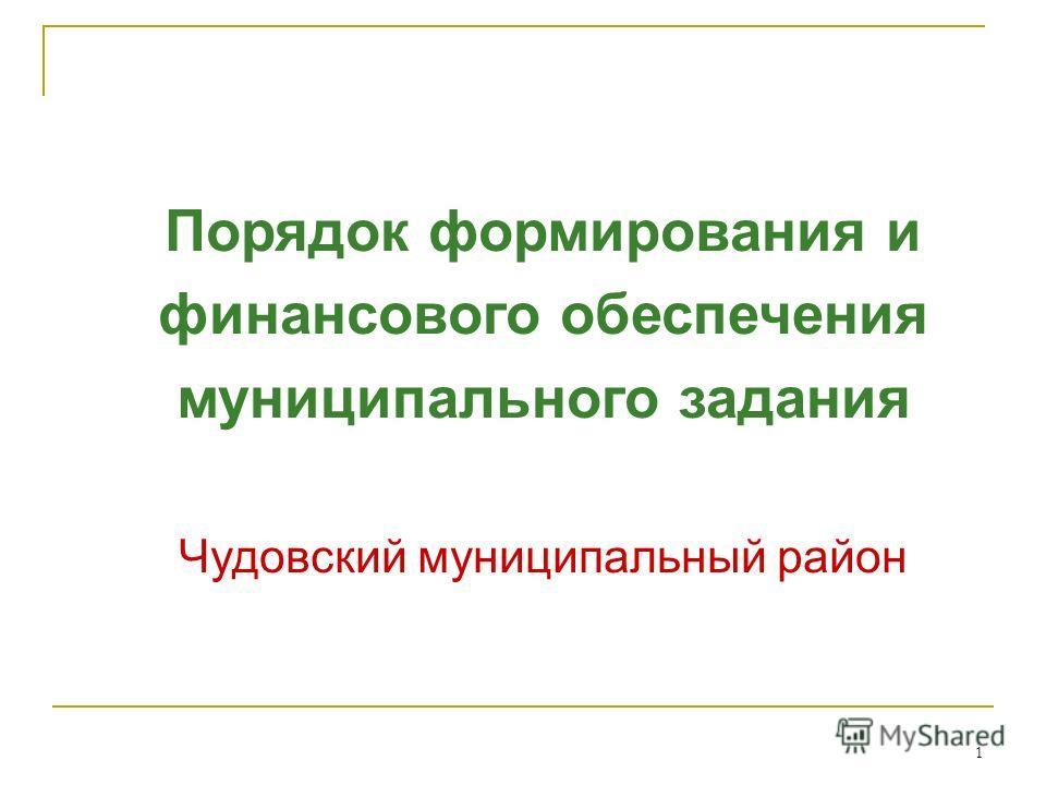 1 Порядок формирования и финансового обеспечения муниципального задания Чудовский муниципальный район