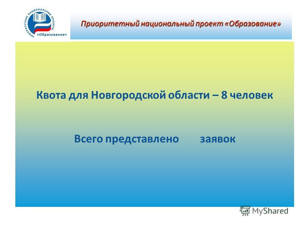 Квота для Новгородской области – 8 человек Всего представлено заявок Приоритетный национальный проект «Образование»