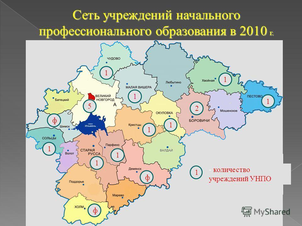 Сеть учреждений начального профессионального образования в 2010 г. 1 ф ф 1 1 5 ф 1 1 1 1 1 2 1 - количество учреждений УНПО 1