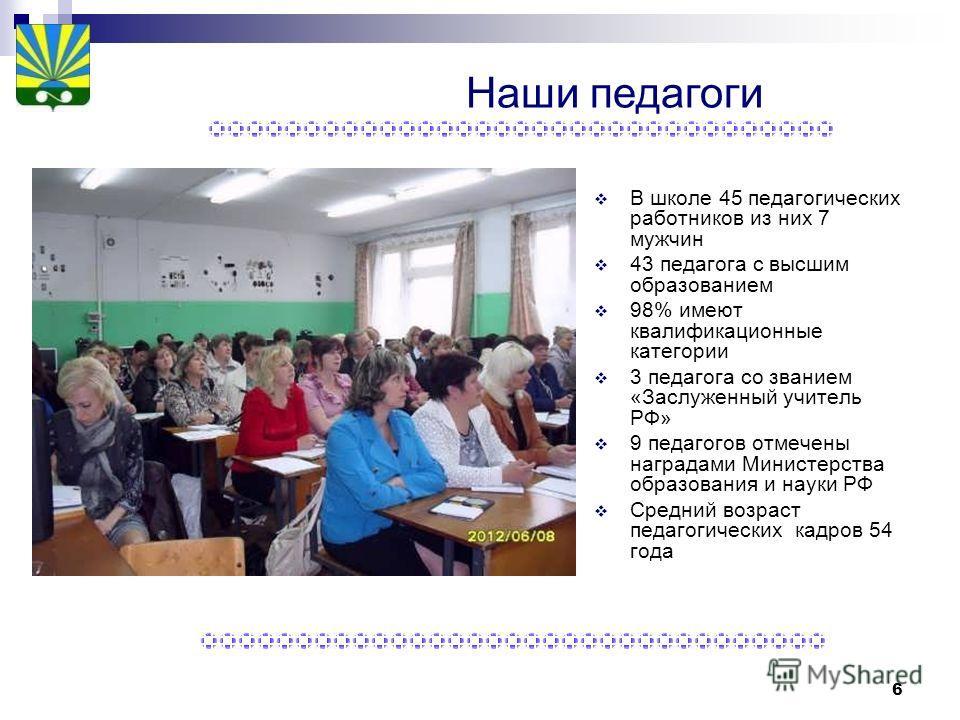 6 В школе 45 педагогических работников из них 7 мужчин 43 педагога с высшим образованием 98% имеют квалификационные категории 3 педагога со званием «Заслуженный учитель РФ» 9 педагогов отмечены наградами Министерства образования и науки РФ Средний во