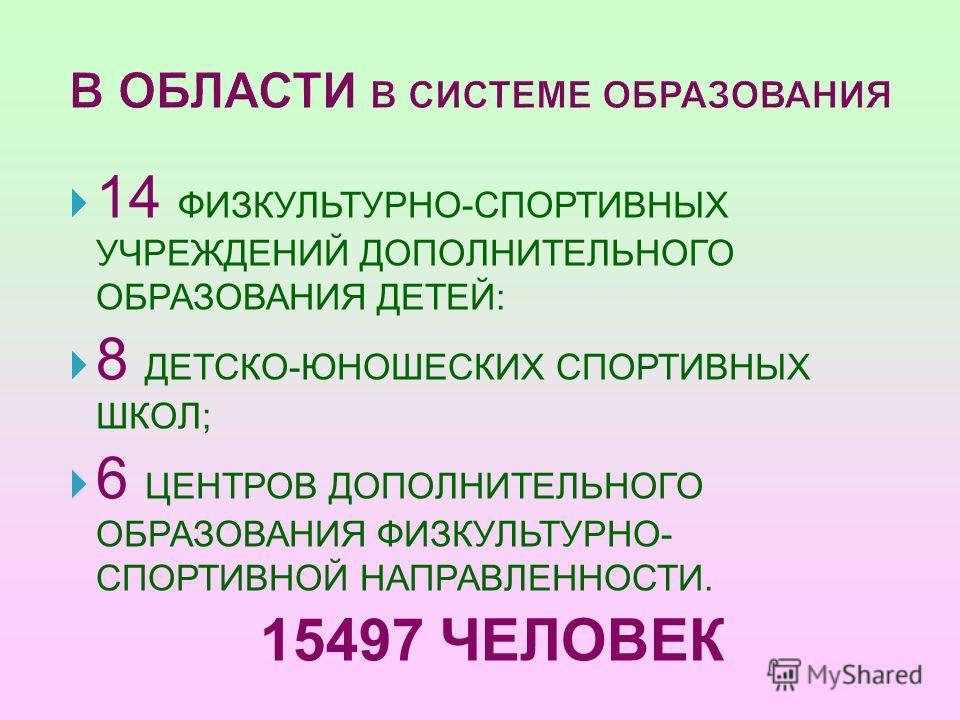 В ОБЛАСТИ В СИСТЕМЕ ОБРАЗОВАНИЯ 14 ФИЗКУЛЬТУРНО-СПОРТИВНЫХ УЧРЕЖДЕНИЙ ДОПОЛНИТЕЛЬНОГО ОБРАЗОВАНИЯ ДЕТЕЙ: 8 ДЕТСКО-ЮНОШЕСКИХ СПОРТИВНЫХ ШКОЛ; 6 ЦЕНТРОВ ДОПОЛНИТЕЛЬНОГО ОБРАЗОВАНИЯ ФИЗКУЛЬТУРНО- СПОРТИВНОЙ НАПРАВЛЕННОСТИ. 15497 ЧЕЛОВЕК