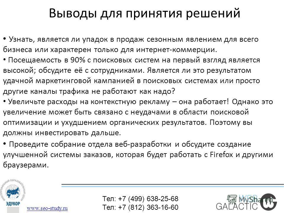 Выводы для принятия решений Тел: +7 (499) 638-25-68 Тел: +7 (812) 363-16-60 www.seo-study.ru Узнать, является ли упадок в продаж сезонным явлением для всего бизнеса или характерен только для интернет-коммерции. Посещаемость в 90% с поисковых систем н