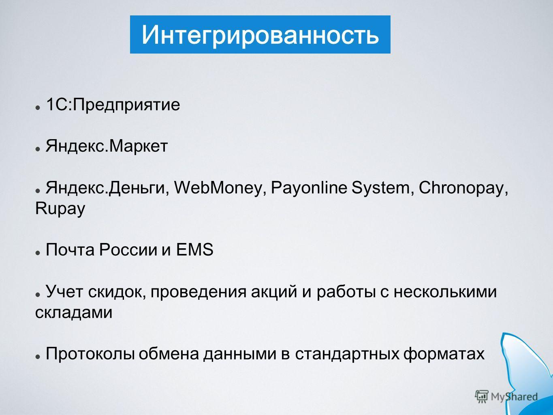 Интегрированность 1С:Предприятие Яндекс.Маркет Яндекс.Деньги, WebMoney, Payonline System, Chronopay, Rupay Почта России и EMS Учет скидок, проведения акций и работы с несколькими складами Протоколы обмена данными в стандартных форматах