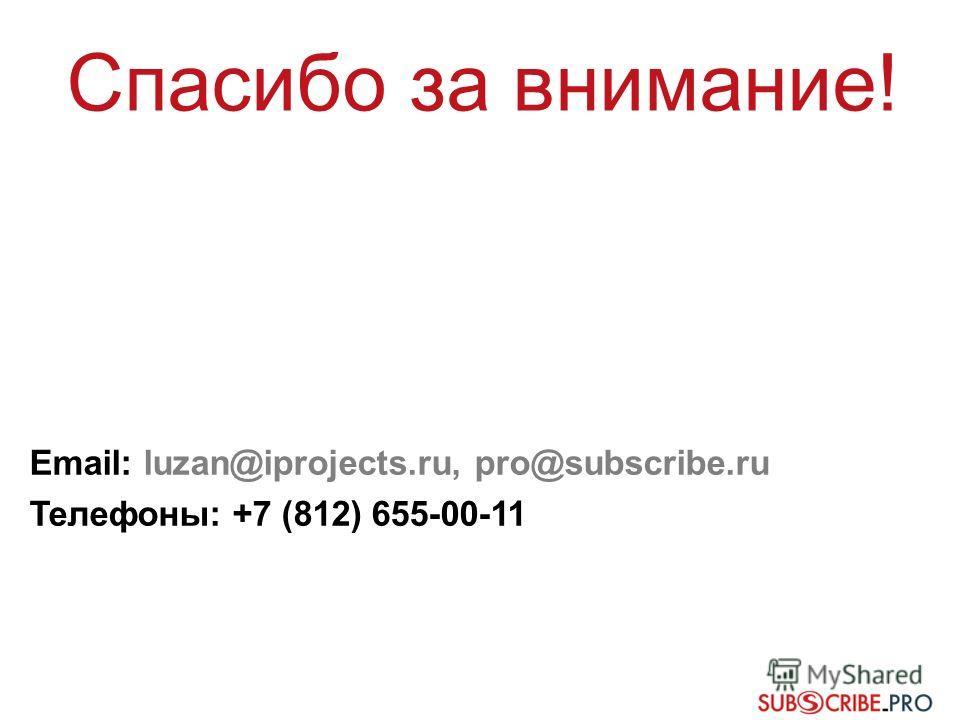 Email: luzan@iprojects.ru, pro@subscribe.ru Телефоны: +7 (812) 655-00-11 Спасибо за внимание!