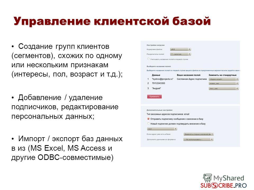 Создание групп клиентов (сегментов), схожих по одному или нескольким признакам (интересы, пол, возраст и т.д.); Добавление / удаление подписчиков, редактирование персональных данных; Импорт / экспорт баз данных в из (MS Excel, MS Access и другие ODBC