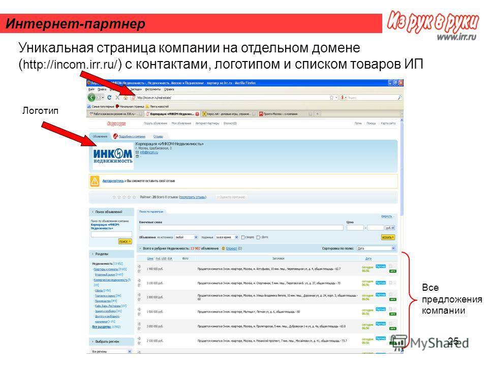 25 Интернет-партнер Уникальная страница компании на отдельном домене ( http://incom.irr.ru/ ) с контактами, логотипом и списком товаров ИП Логотип Все предложения компании