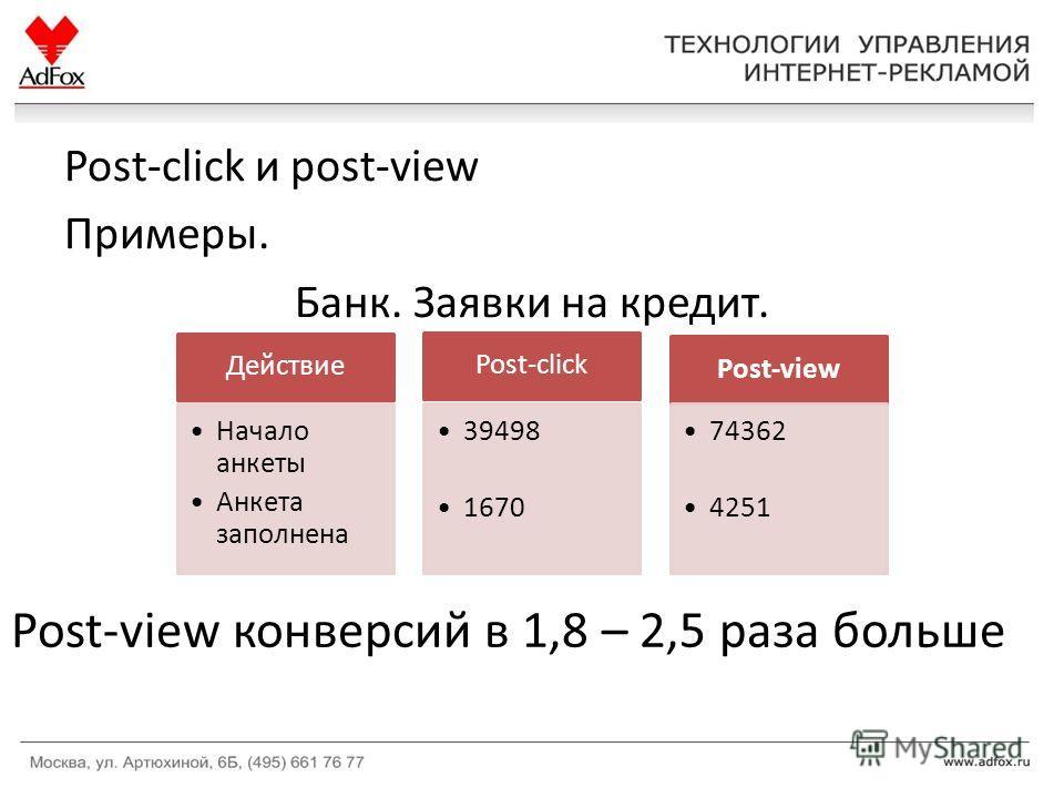 Post-click и post-view Примеры. Банк. Заявки на кредит. Действие Начало анкеты Анкета заполнена Post-click 39498 1670 Post-view 74362 4251 Post-view конверсий в 1,8 – 2,5 раза больше