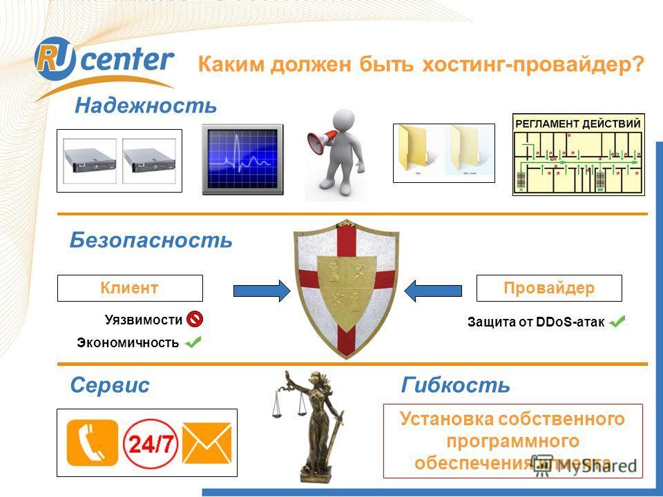 Каким должен быть хостинг-провайдер? Надежность Безопасность КлиентПровайдер Экономичность Уязвимости Защита от DDoS-атак СервисГибкость Установка собственного программного обеспечения клиента