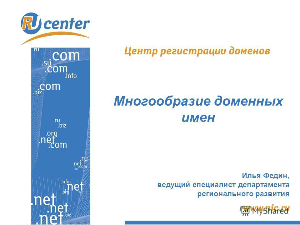Многообразие доменных имен Илья Федин, ведущий специалист департамента регионального развития