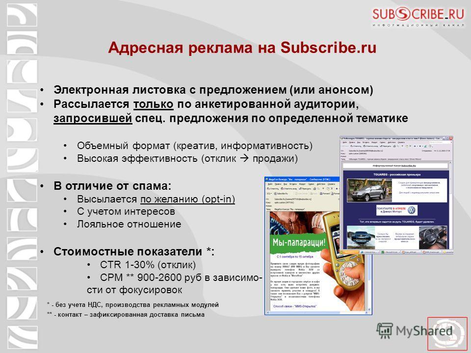 Адресная реклама на Subscribe.ru Электронная листовка с предложением (или анонсом) Рассылается только по анкетированной аудитории, запросившей спец. предложения по определенной тематике Объемный формат (креатив, информативность) Высокая эффективность