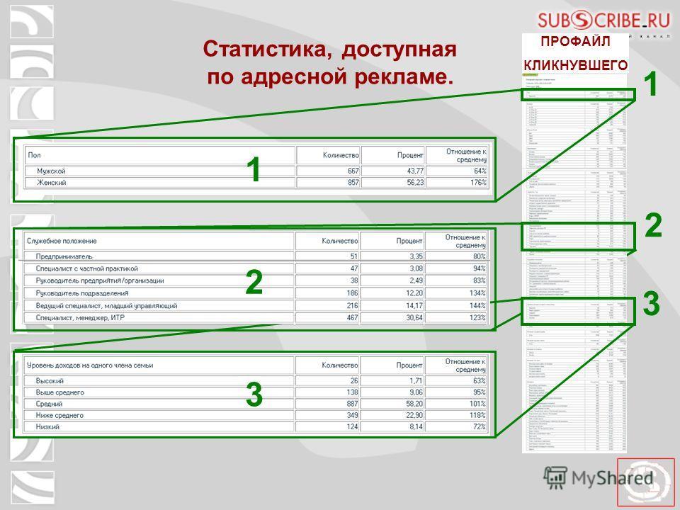 Статистика, доступная по адресной рекламе. 1 ПРОФАЙЛ КЛИКНУВШЕГО 1 2 3 3 2 1