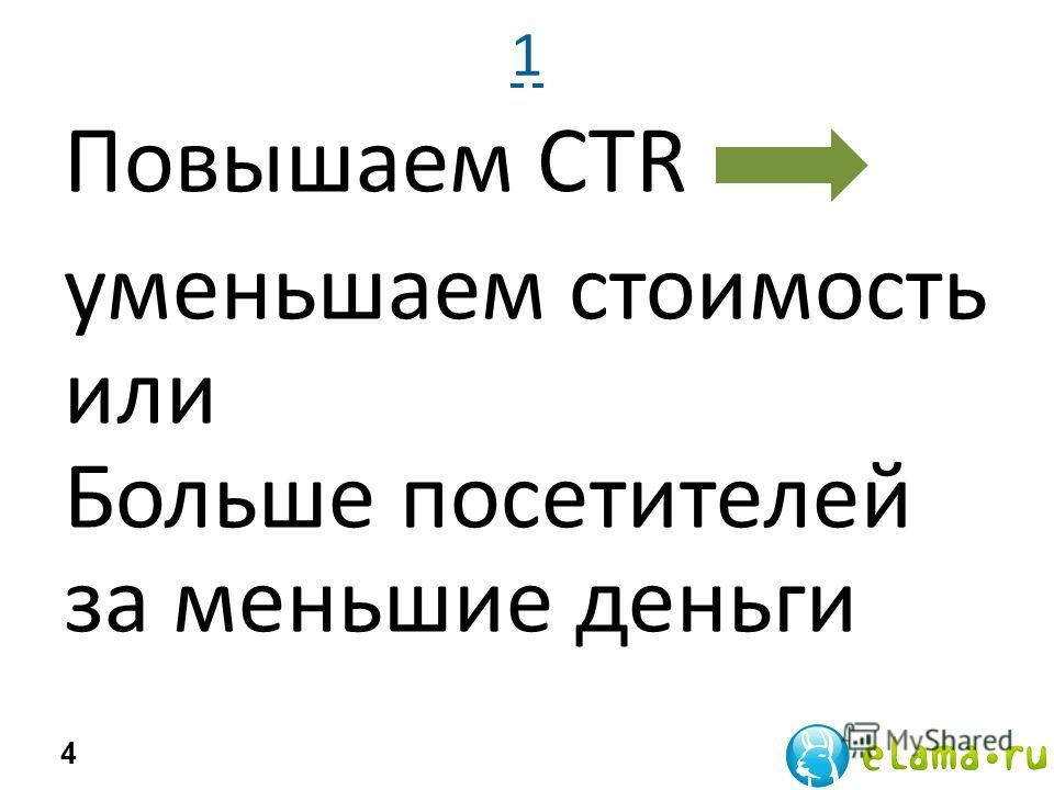 1 Повышаем CTR уменьшаем стоимость или Больше посетителей за меньшие деньги 4