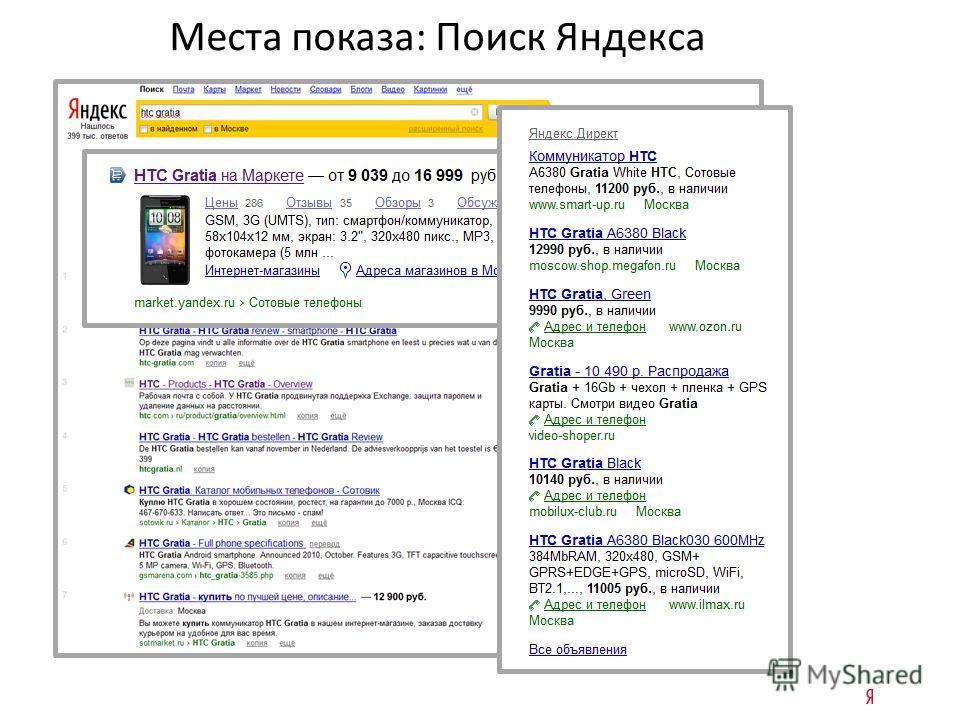 Места показа: Поиск Яндекса