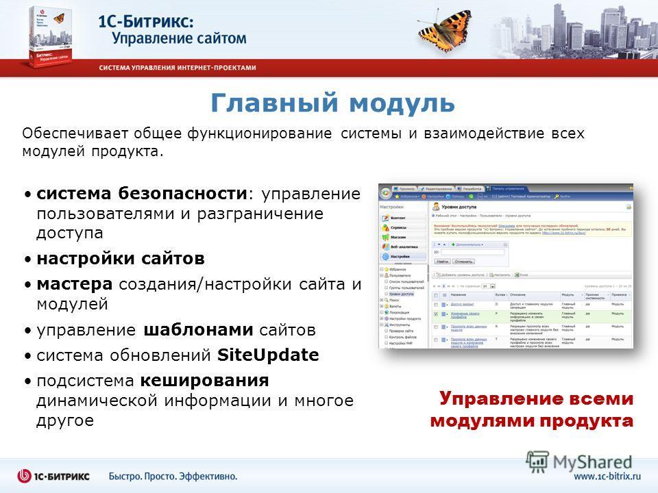 Главный модуль Обеспечивает общее функционирование системы и взаимодействие всех модулей продукта. система безопасности: управление пользователями и разграничение доступа настройки сайтов мастера создания/настройки сайта и модулей управление шаблонам