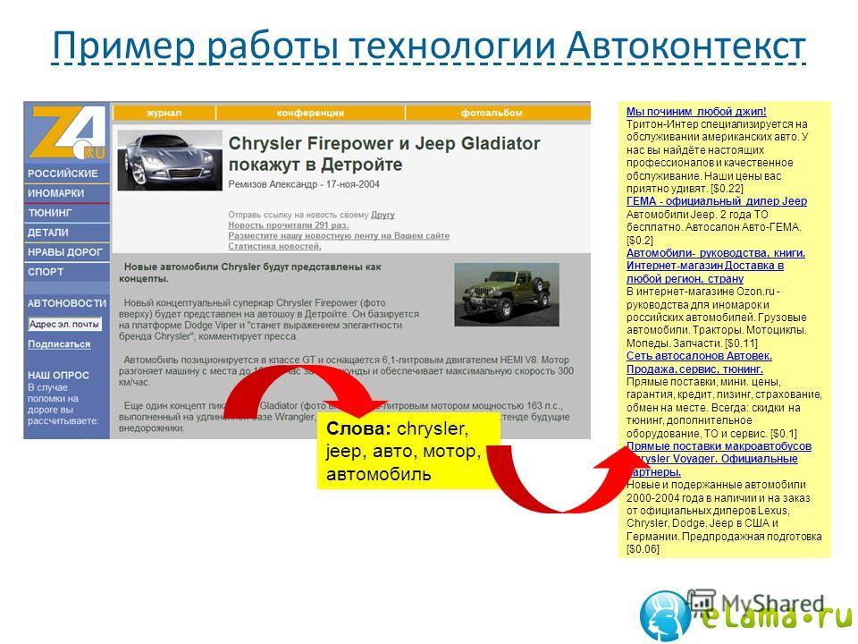 Пример работы технологии Автоконтекст Мы починим любой джип! Мы починим любой джип! Тритон-Интер специализируется на обслуживании американских авто. У нас вы найдёте настоящих профессионалов и качественное обслуживание. Наши цены вас приятно удивят.