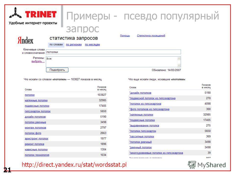 21 Примеры - псевдо популярный запрос http://direct.yandex.ru/stat/wordsstat.pl
