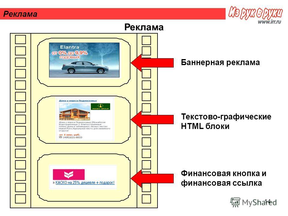 14 Реклама Баннерная реклама Текстово-графические HTML блоки Финансовая кнопка и финансовая ссылка