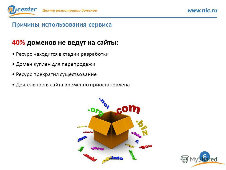 6 Причины использования сервиса 40% доменов не ведут на сайты: Ресурс находится в стадии разработки Домен куплен для перепродажи Ресурс прекратил существование Деятельность сайта временно приостановлена